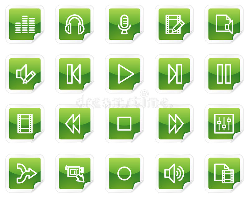 Download Audio And Video Edit Web Icons Stock Vector - Illustration: 8988764