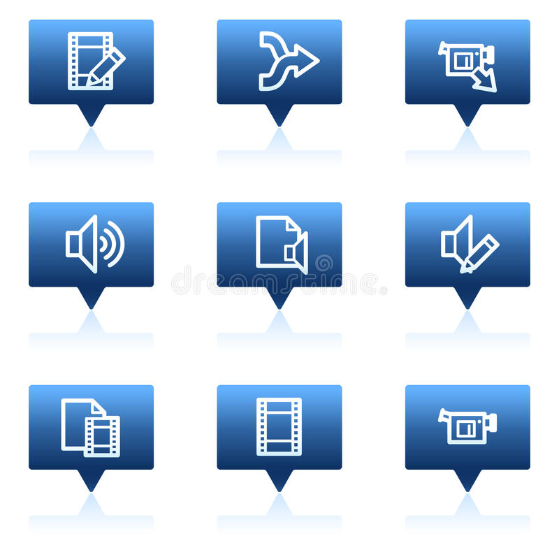 Download Audio Video Edit Web Icons, Blue Speech Bubbles Stock Illustration - Image: 11819370