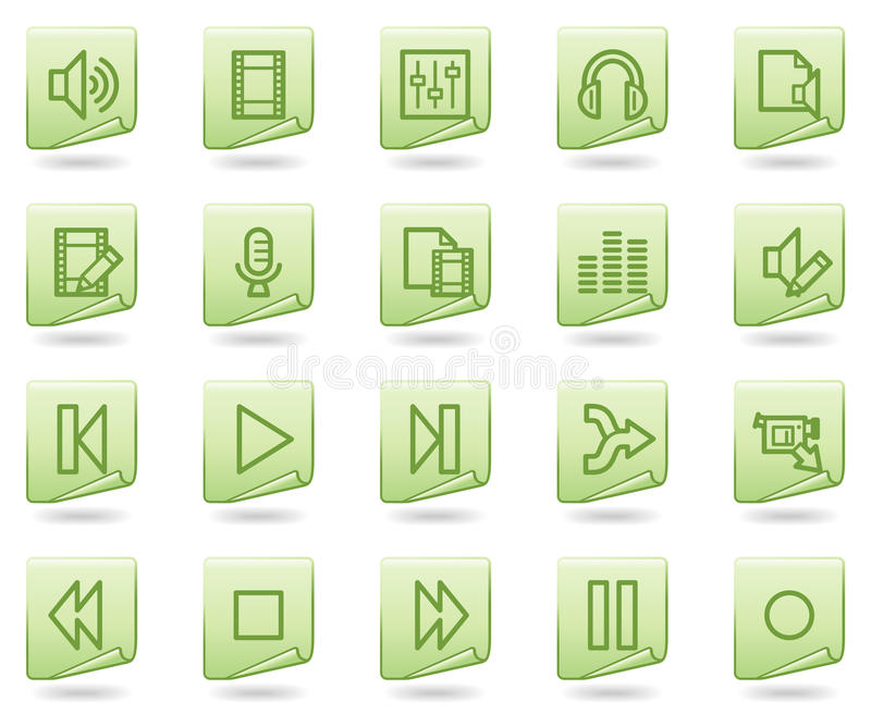 Download Audio Video Edit Web Icons, Green Document Series Stock Vector - Image: 11196465