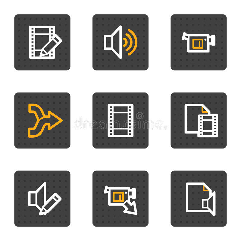 Download Audio Video Edit Web Icons, Grey Buttons Series Stock Vector - Illustration of edit, internet: 9185088