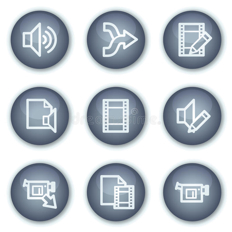Download Audio Video Edit Web Icons, Mineral Circle Buttons Stock Vector - Image: 12567374