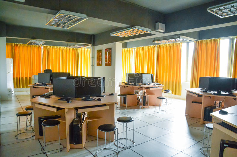 Audio and video editing teaching practice training room. Compared to the traditional linear editing, the nonlinear editing. Non-linear editing using the computer stock images