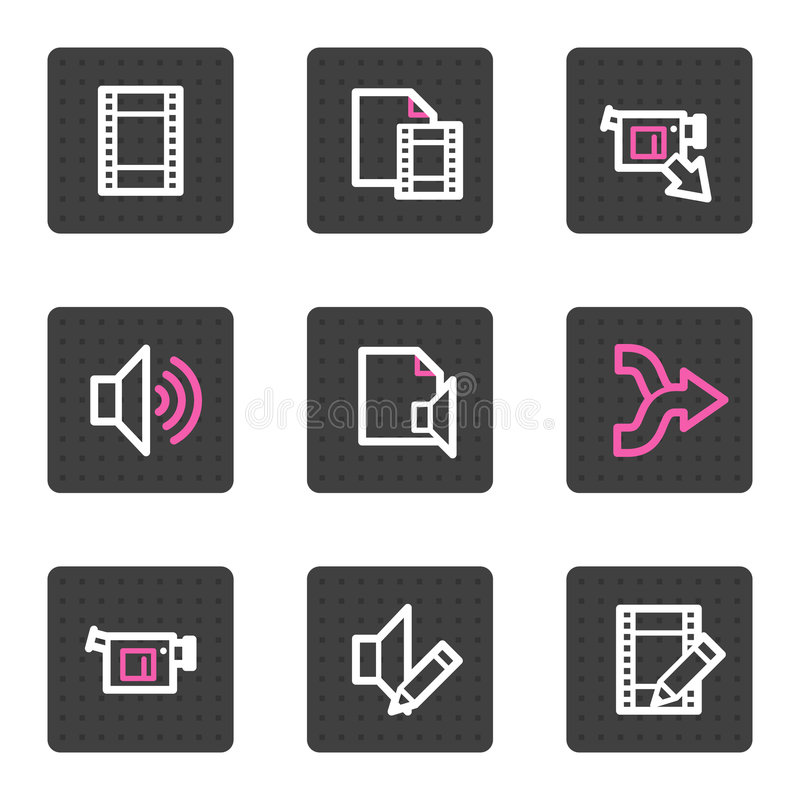 Audio Video Editing Web Icons Stock Photo