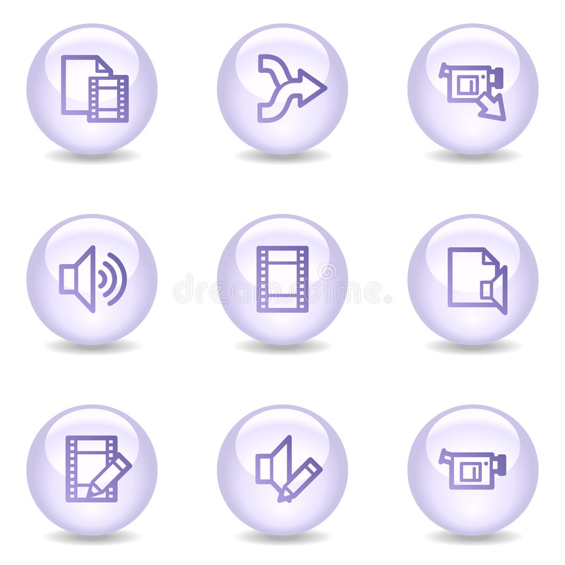 Audio and video editing web icons, pearl series royalty free illustration