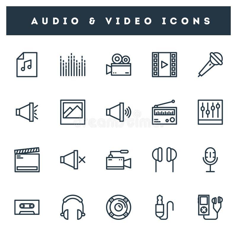 20 audio & video icon set in line art royalty free illustration