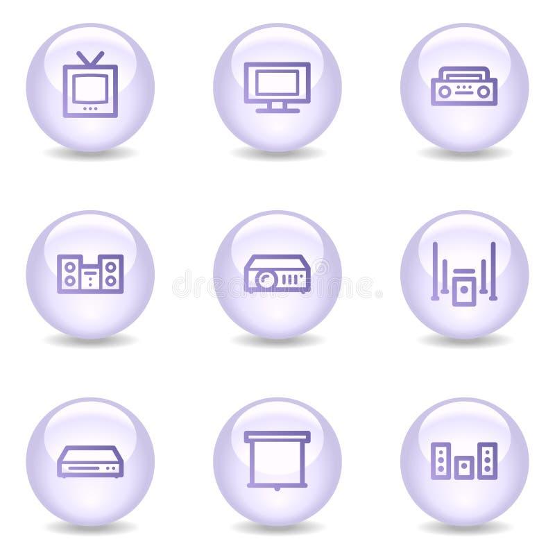 Audio video icone di Web, serie lucida della perla illustrazione vettoriale