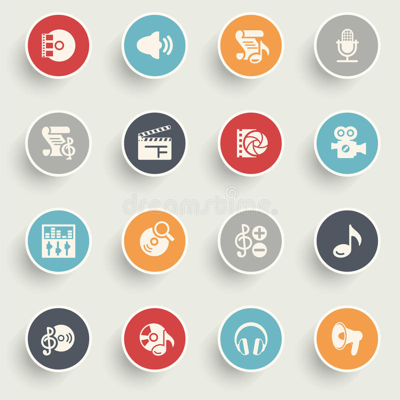 Audio video icons with color buttons on gray background. vector illustration