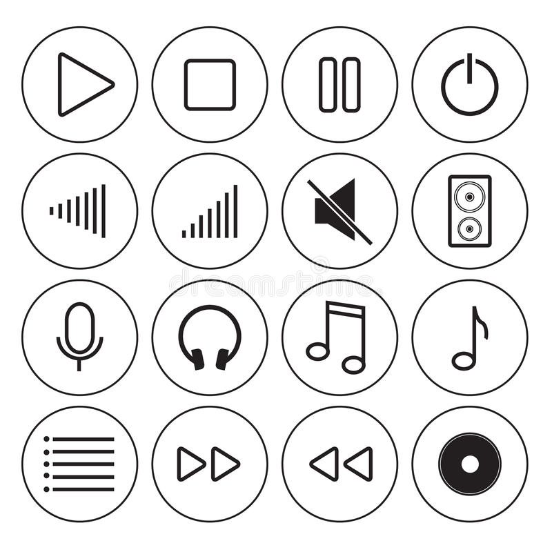 Audio Video Media Icons in Modern Line Design Style stock photos