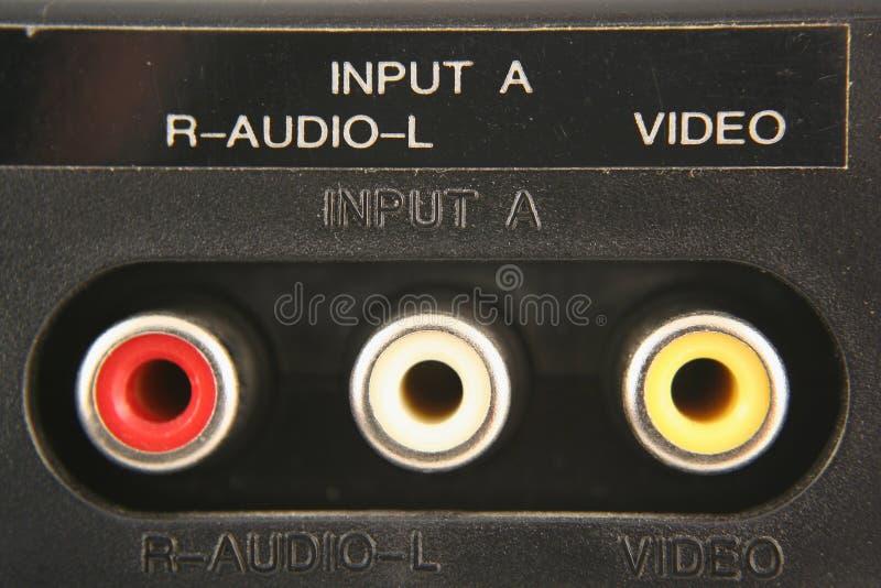 Audio video prese dell'input fotografia stock