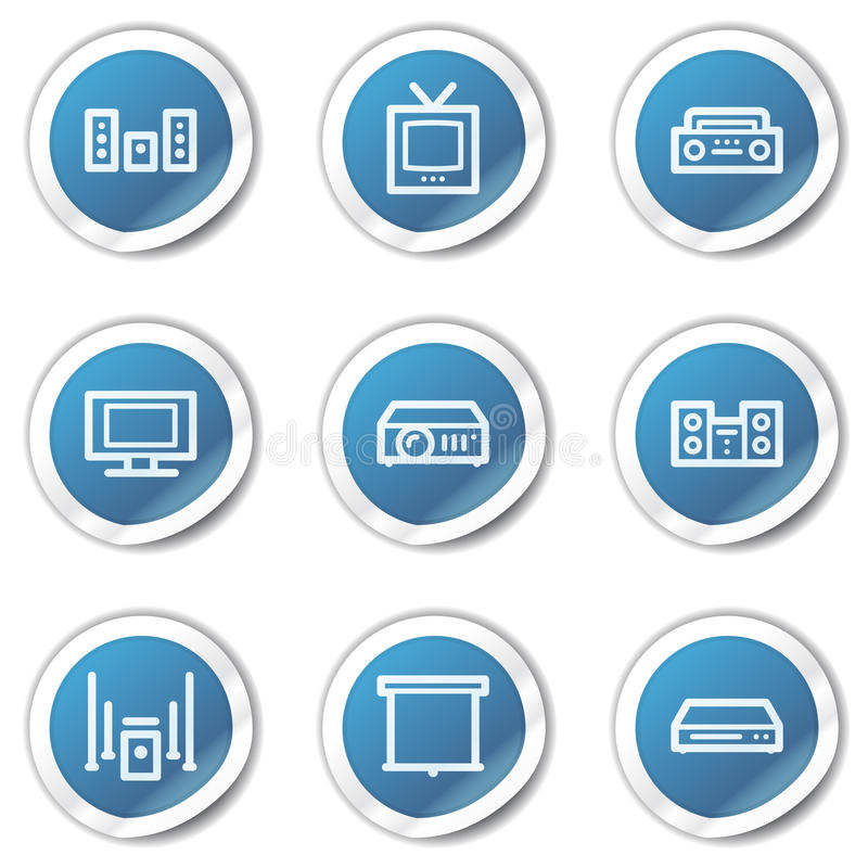 Download Audio Video Web Icons, Blue Sticker Series Stock Vector - Image: 13008815