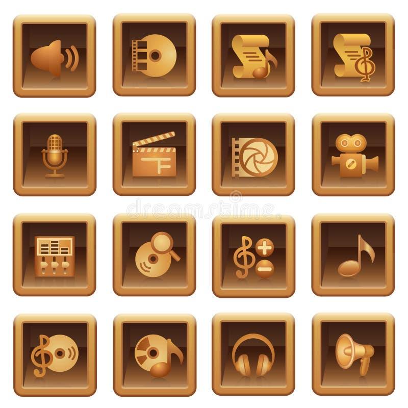 Audio Video Web Icons. Brown Series. Stock Photo