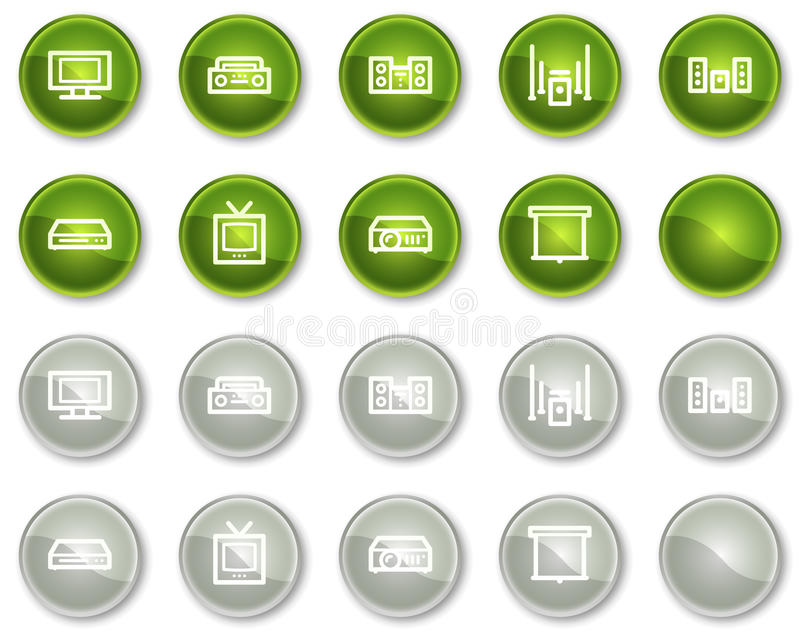 Download Audio Video Web Icons, Circle Buttons Stock Vector - Illustration: 12087123