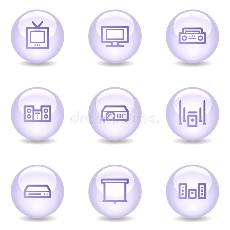 Download Audio Video Web Icons, Glossy Pearl Series Stock Vector - Image: 8545532