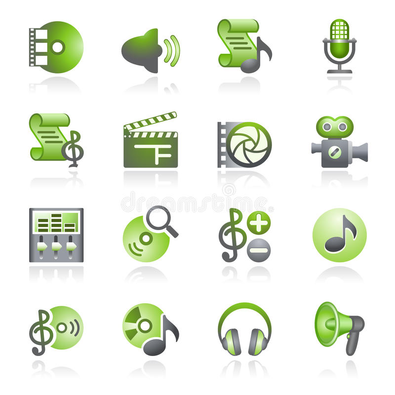 Audio Video Web Icons. Gray And Green Series. Royalty Free Stock Photography