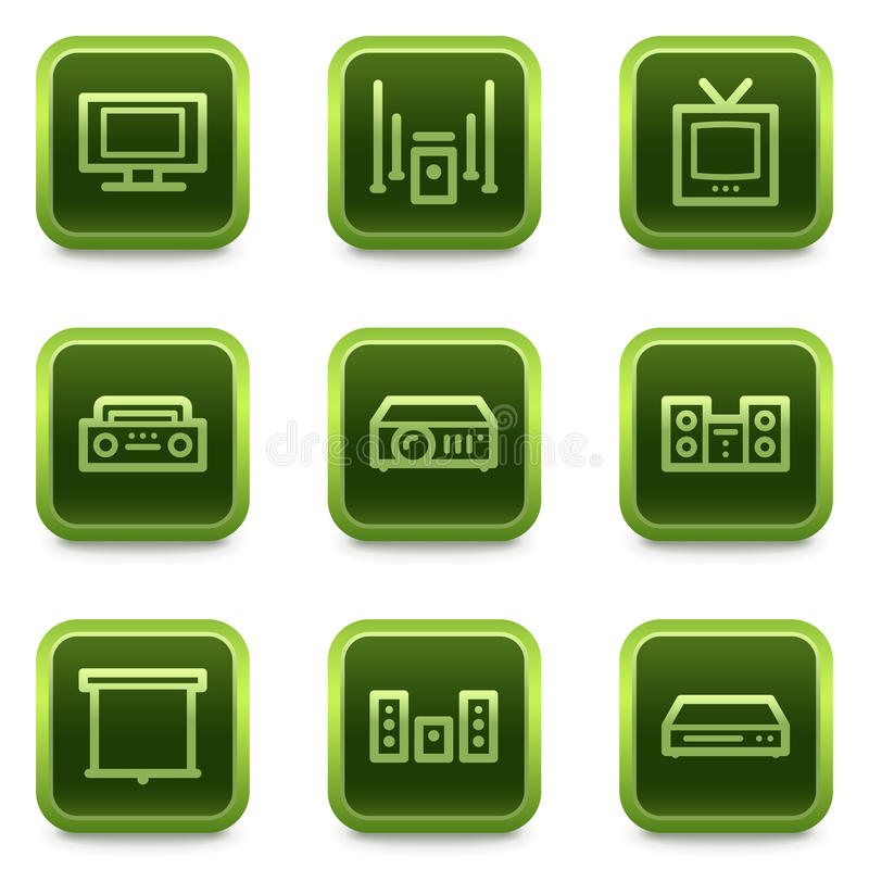 Download Audio Video Web Icons, Green Square Buttons Series Royalty Free Stock Photography - Image: 13106627