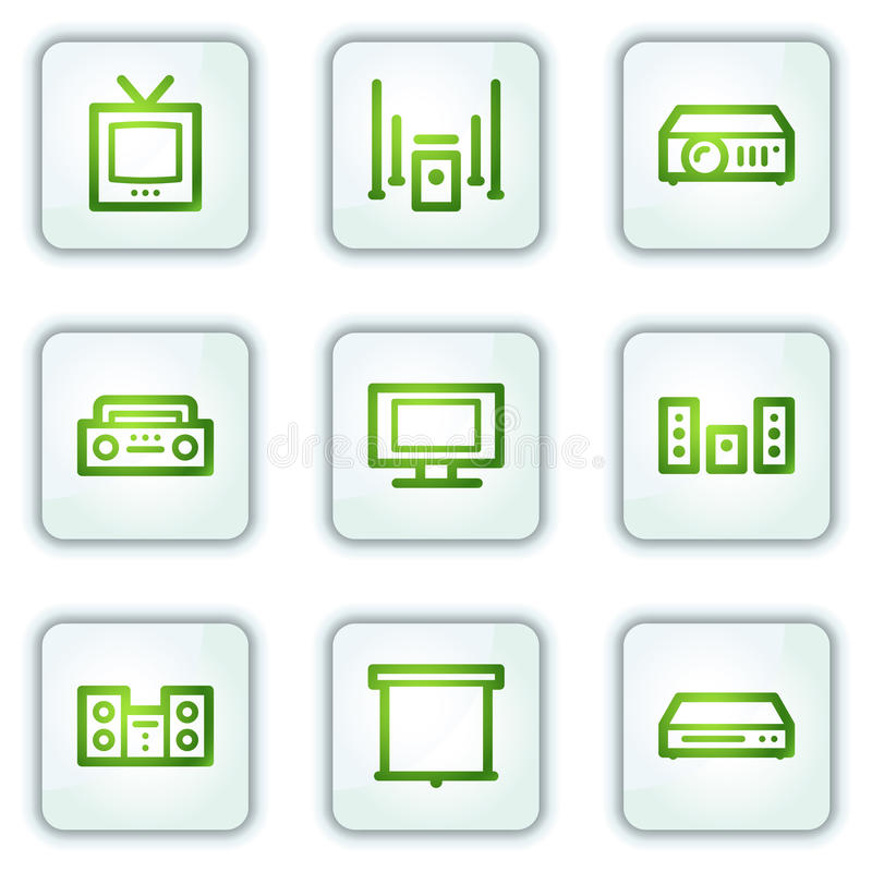Audio video web icons, white square buttons series