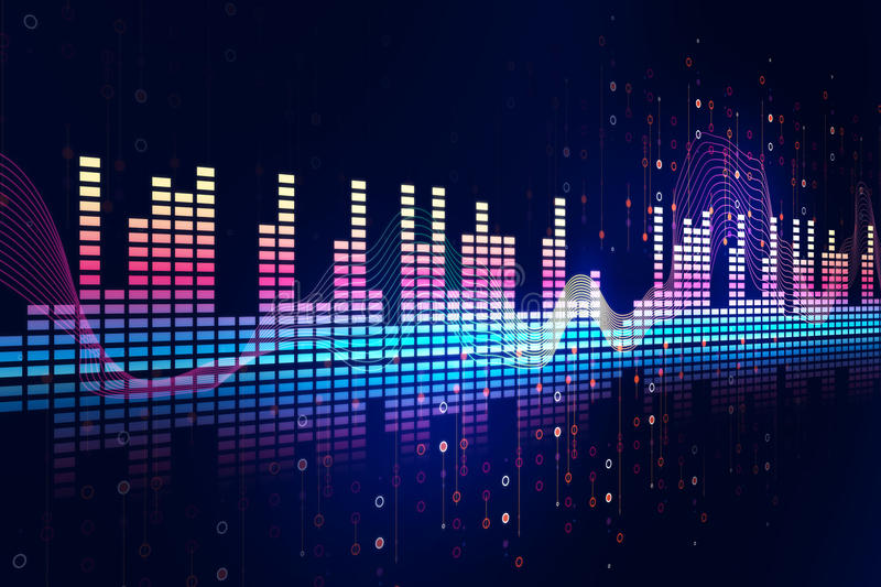 Audio waveform abstract technology background. Colorful Audio waveform abstract technology background ,represent digital equalizer technology stock illustration