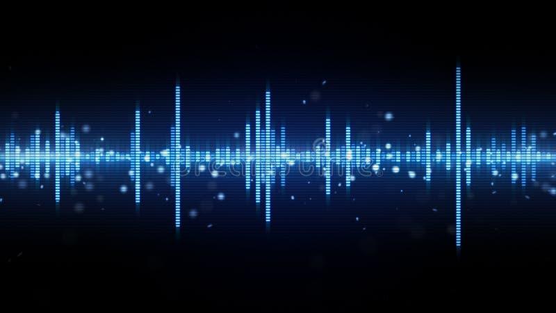 Audio waveform blue equalizer royalty free illustration