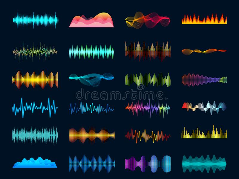 Audio waveform signals, wave song equalizer, stereo recorder sound visualization. Soundtrack signal and melody beat. Audio waveform signals, wave song equalizer royalty free illustration