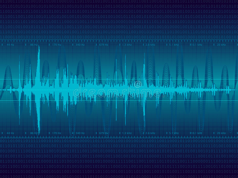 Audio Waveform vector. Background  background. (only linear gradients stock illustration
