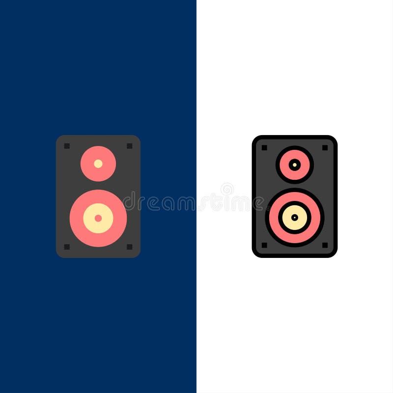 Audio, Wifi, haut-parleur, moniteur, icônes professionnelles L'appartement et la ligne icône remplie ont placé le fond bleu de ve illustration stock