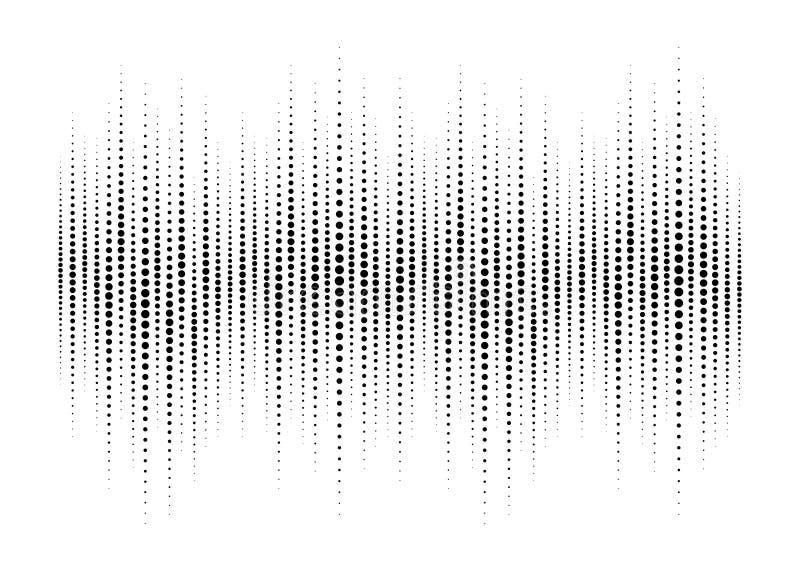 Audio wyrównywacza halftone odizolowywający na białym tle Rozsądna fala z halftone teksturą Audio widma waveform wektor royalty ilustracja