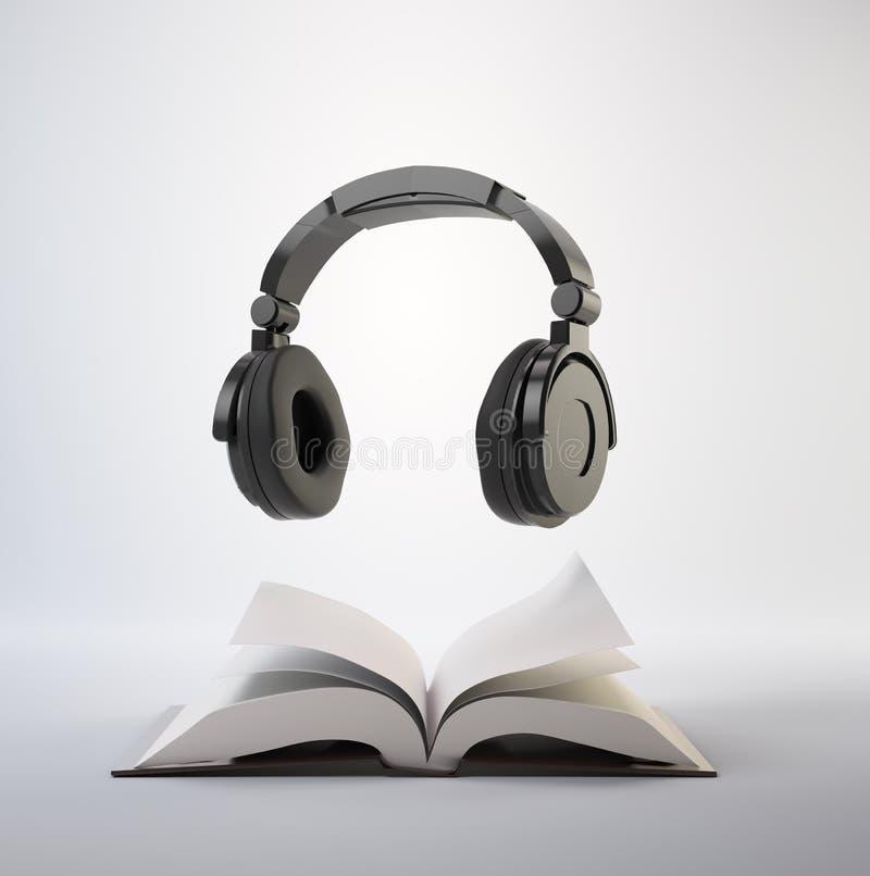 audiobook书概念耳机 库存例证