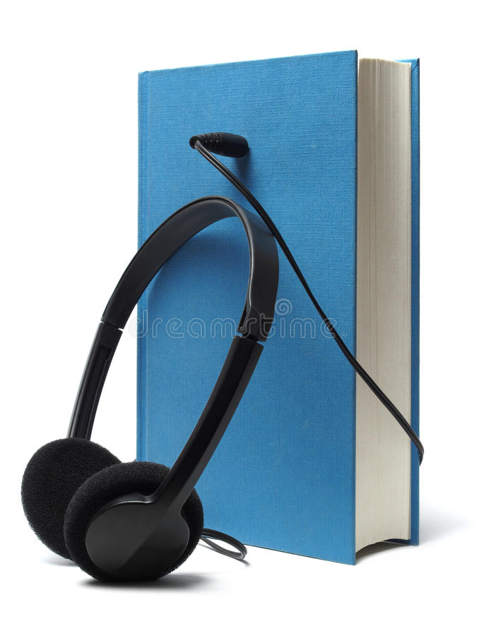 Audiobook and Headphones royalty free stock photography