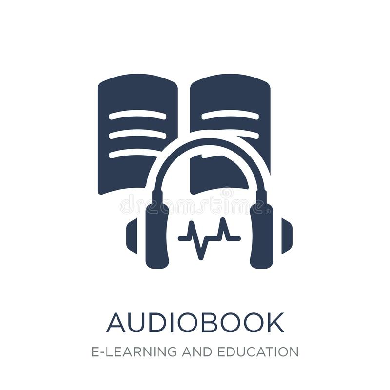 Audiobook-Ikone Modische flache Vektor Audiobook-Ikone auf weißem backg stock abbildung