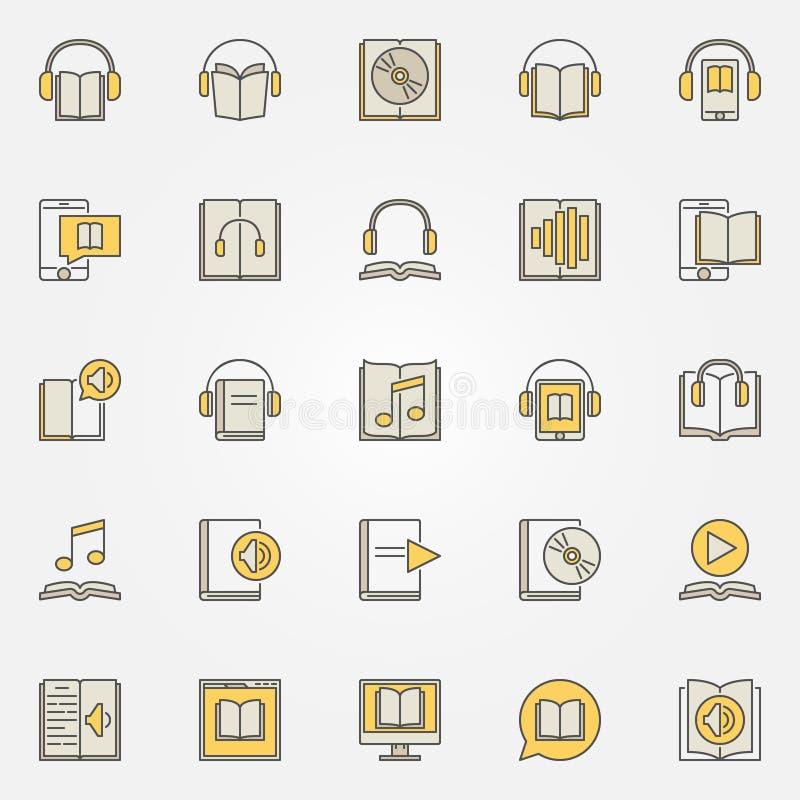 Audiobook kolorowe ikony ustawiać royalty ilustracja