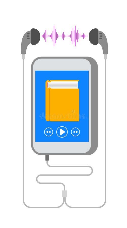 Audiobook no smartphone com conceito liso dos fones de ouvido ilustração stock