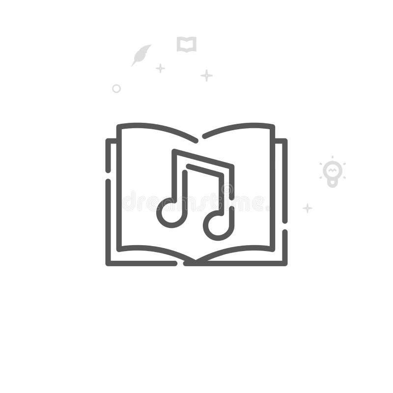 Audiobook-Vektor-Linie Ikone, Symbol, Piktogramm, Zeichen Heller abstrakter geometrischer Hintergrund Editable Anschlag lizenzfreie abbildung