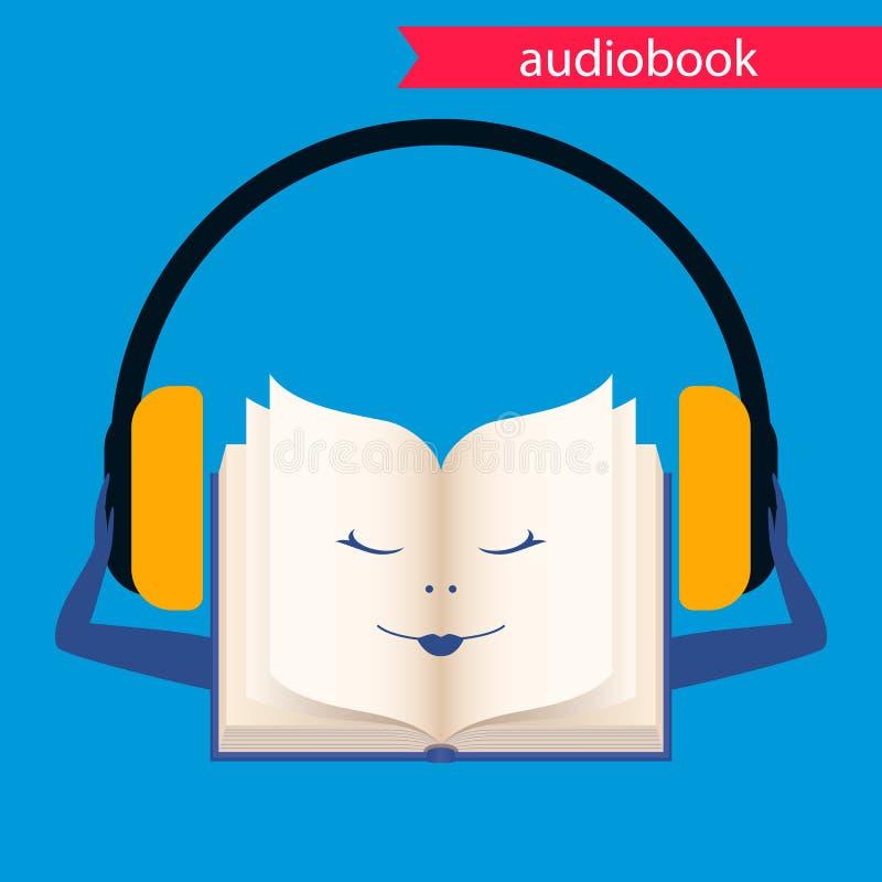 Audiobook, wektorowa ikona Książka z hełmofonami ilustracja wektor