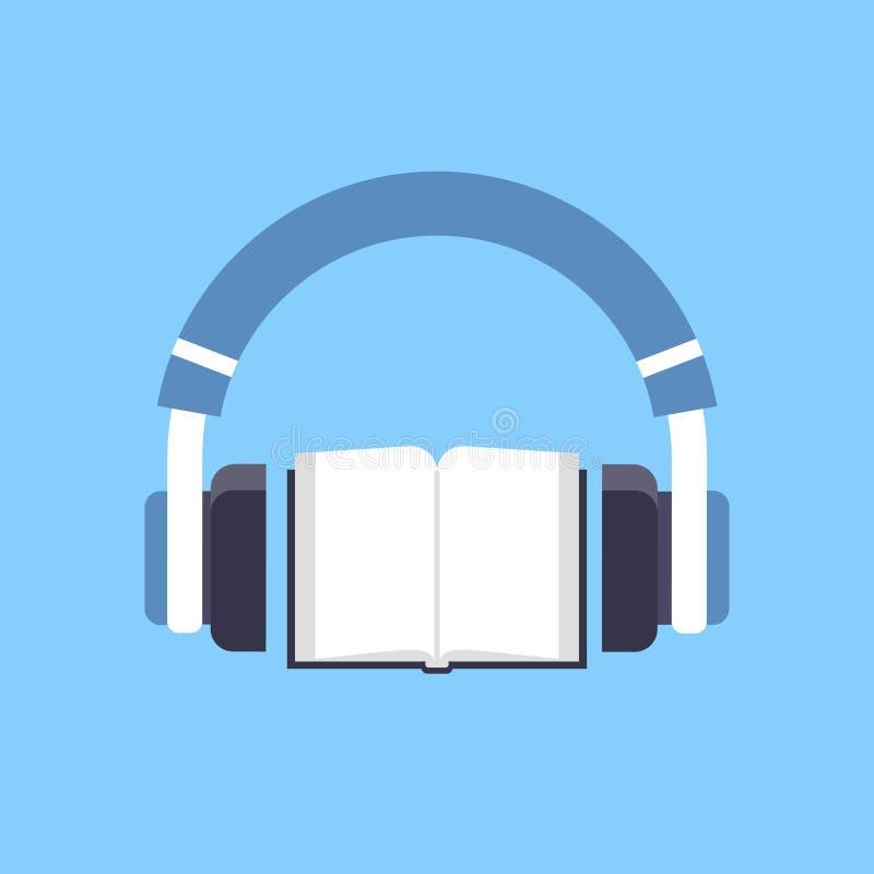 Audiobookhoofdtelefoons over open de afstandsonderwijs van het handboek audioboek e-lerend concepten blauwe achtergrond vector illustratie