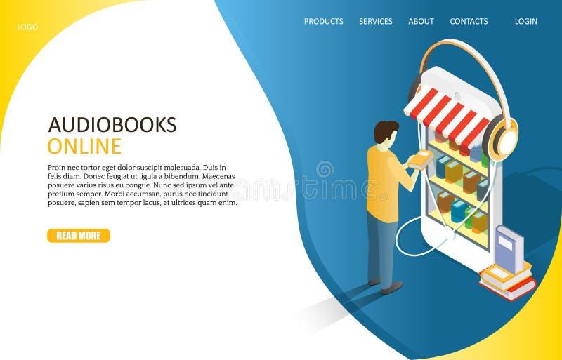 Audiobooks lądowania strony strony internetowej wektoru online szablon ilustracji