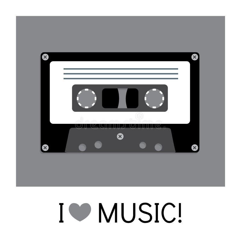 Audiocassette oude die band in een vlakke stijl wordt geschilderd Retro en uitstekend royalty-vrije illustratie