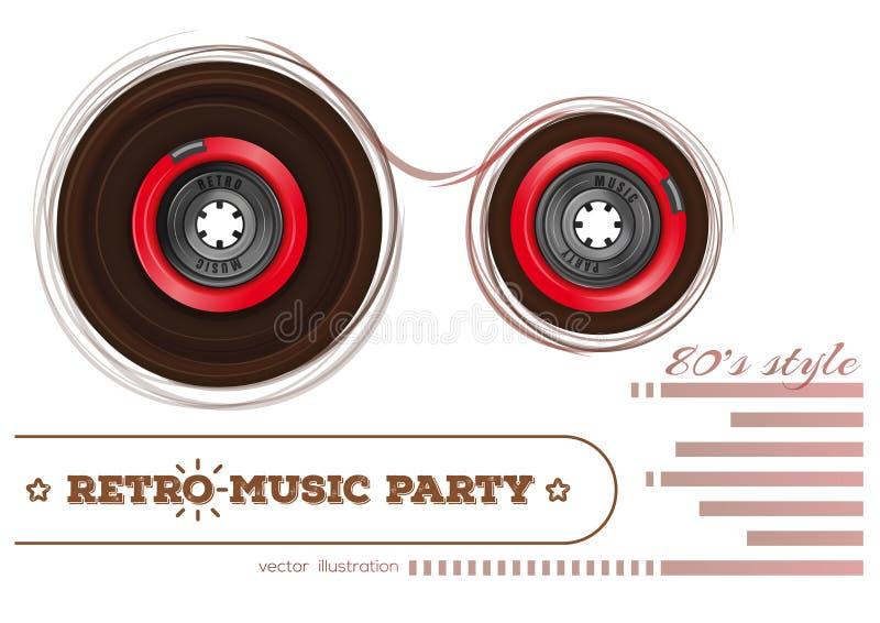 Audiocassette Retro muziekpartij de jaren '80stijl stock illustratie