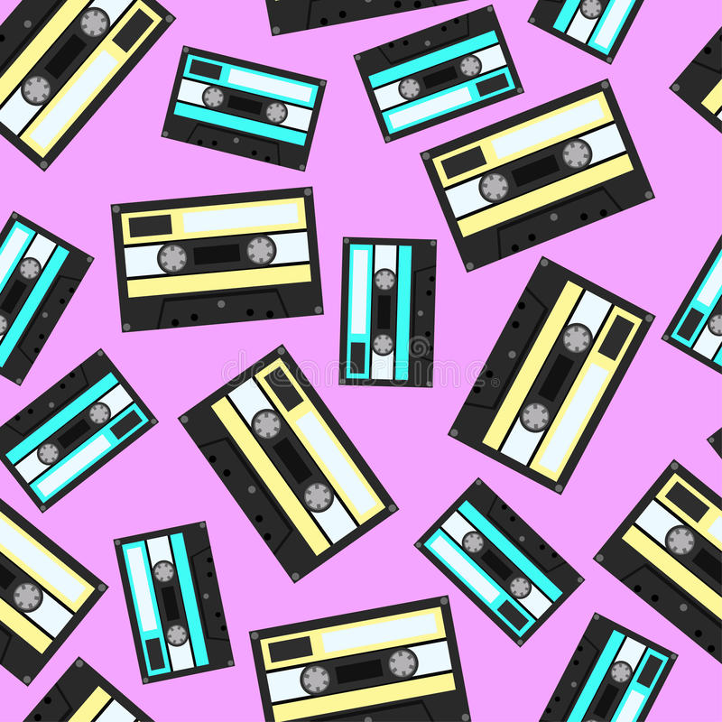 Audiocassette seamless pattern. Vector Illustration stock photo