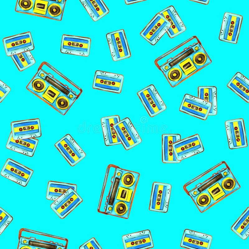 Audiocassettes en retro boombox royalty-vrije illustratie