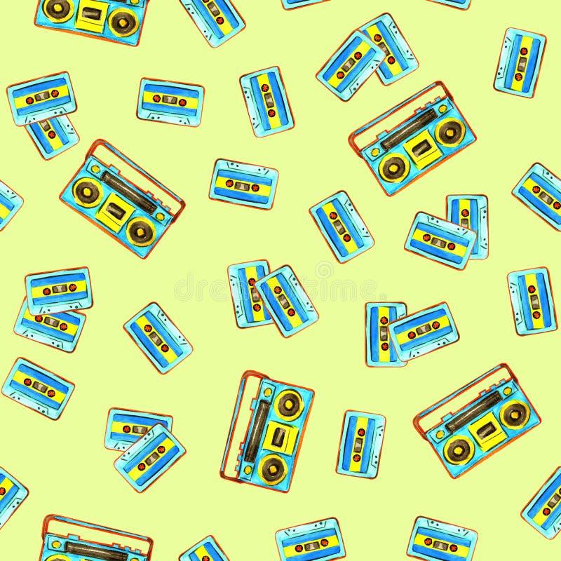 Audiocassettes en retro boomboxpatroon stock illustratie