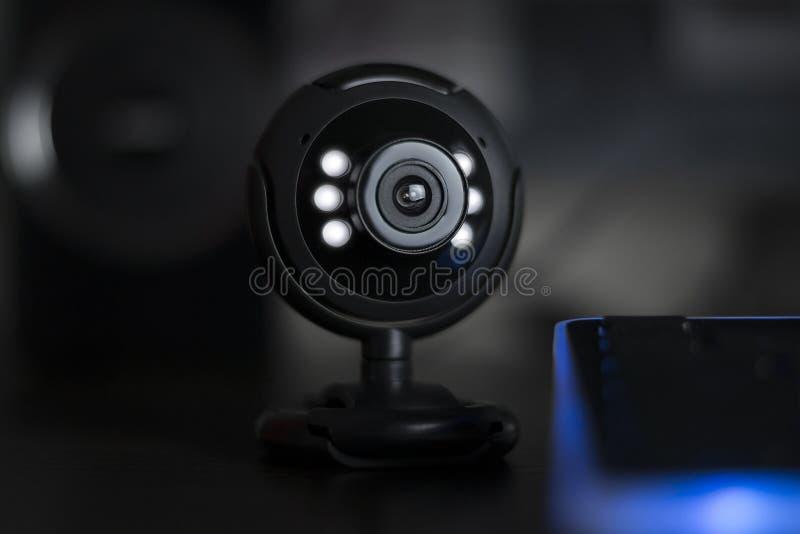 Audioconferência webinar da câmera de Web do Usb foto de stock