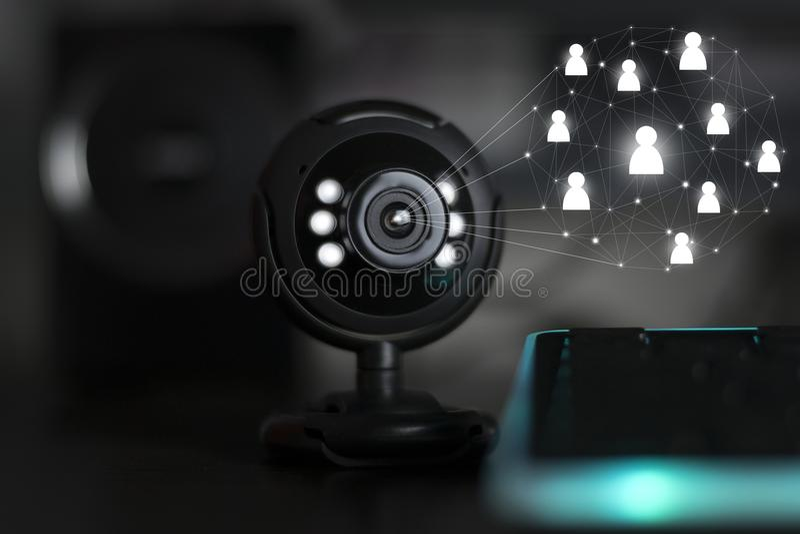 Audioconferência webinar da câmera de Web do Usb imagem de stock