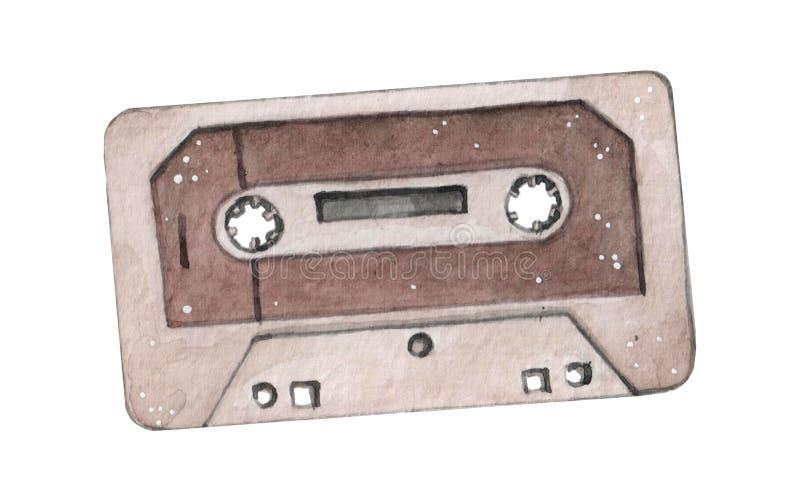 Audiodie de waterverfillustratie van de cassetteband op wahite wordt geïsoleerd backgraound stock afbeelding