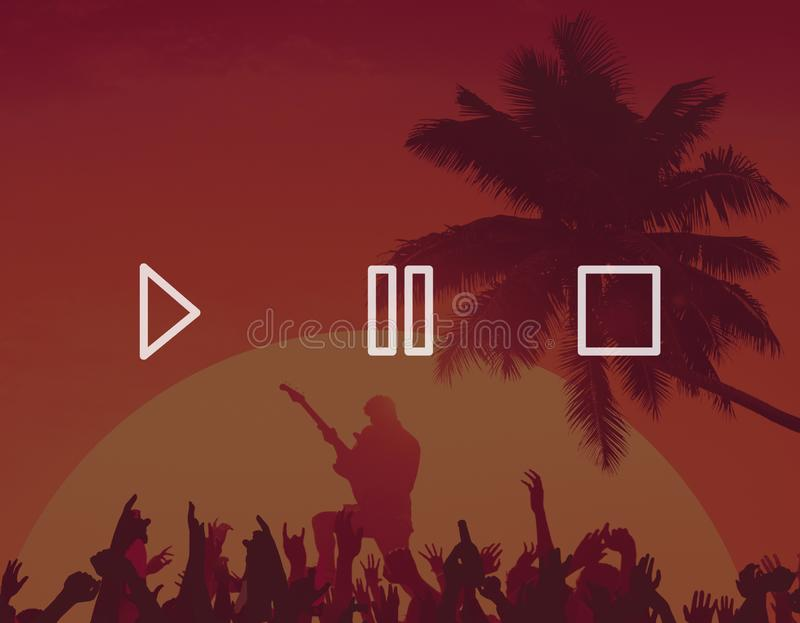 Audioknopf-Steuerspiel-Pausen-Endsymbol-Ikonen-Konzept stock abbildung