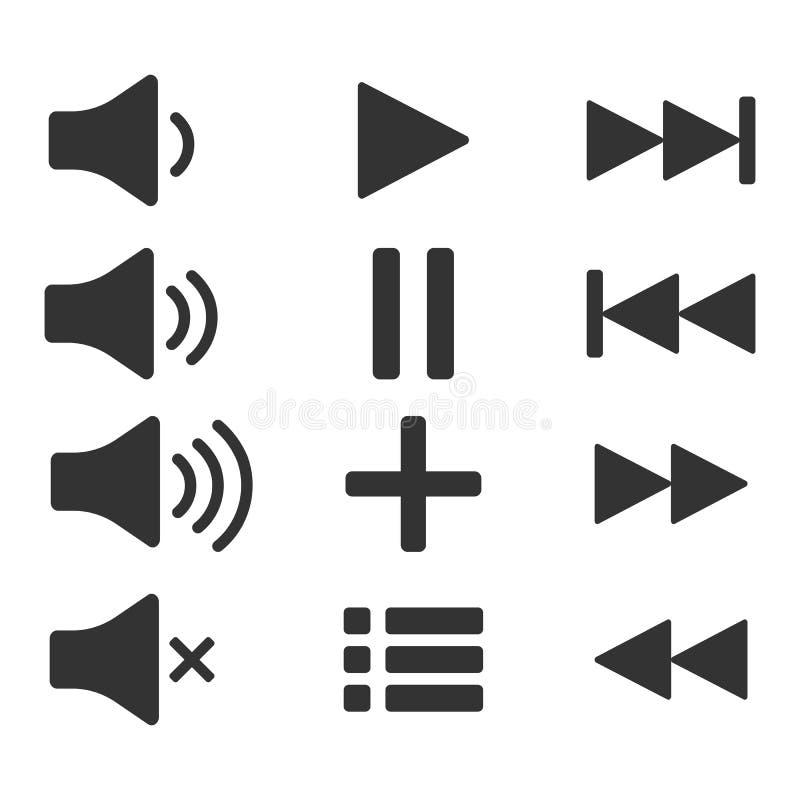 Audiopictogrammen Correcte knopen Spelknoop Pauzeteken Symbool voor Web of app royalty-vrije illustratie