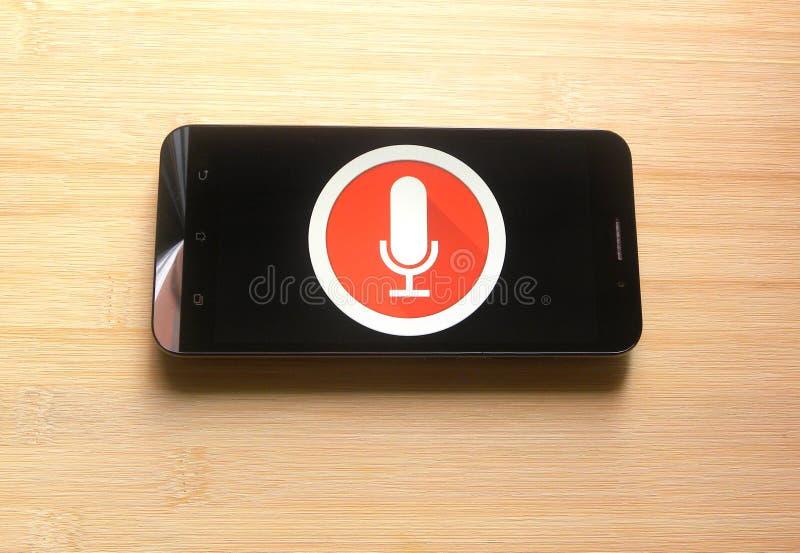 Audiorecorder App auf Smartphone stockfoto