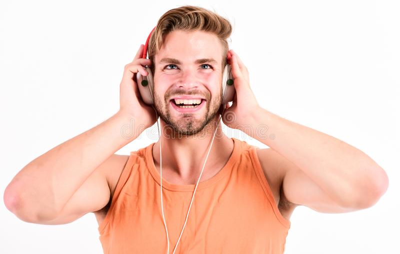 Audiovisual spectacular. Melody put over various types of music. It is great time to be creating new realities. Man. Handsome bearded guy listening music royalty free stock images