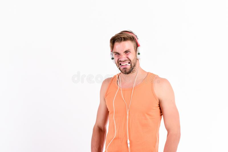 Audiovisual spectacular. Melody put over various types of music. Music fan concept. It is great time to be creating new. Realities. Man handsome bearded guy stock photography