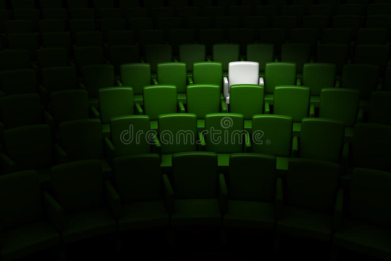 Auditório com um assento reserved ilustração stock