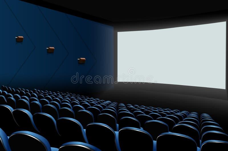 Auditório do cinema com assentos azuis e a tela vazia branca ilustração stock